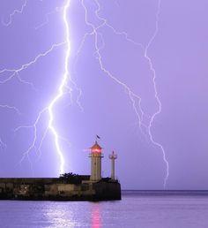 Tarkhankut Lighthouse & Lightning - Crimea, Ukraine