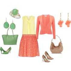 """""""Light Spring: coral-yellow-green/beige inspiration"""" by adriana-cizikova on Polyvore"""