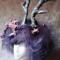 Custom made Midsummers Night's Dream, Forest Spirit Nymph style wig with glitter horns  for more, see our #Etsy store
