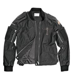 """Boeing Totem """"I love airplanes, especially warplanes from World War II. I bought this jacket in anticipation of completing a bobber motorcycle build. Can't wait to wear this jacket on a ride! Denim Button Up, Button Up Shirts, Motorcycle Jacket, Bobber Motorcycle, Dark Navy, Pilot, Sporty, My Style, How To Wear"""