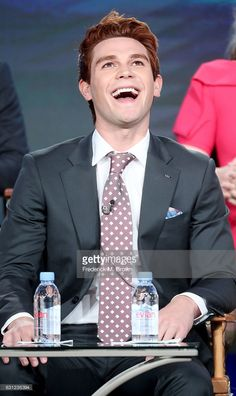 """KJ Apa Photos - Actor K. Apa of the """"Riverdale"""" television show speaks during the CW portion of the 2017 Winter Television Critics Association Press Tour at the Langham Hotel on January 2017 in Pasadena, California. Kj Apa Riverdale, Riverdale Funny, James Fitzgerald, Archie Comics Riverdale, Jeremy Camp, Langham Hotel, Archie Andrews, Hot Actors, The Cw"""