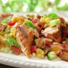 Salad of grilled chicken with corn and cucumber. Recipes with photos.