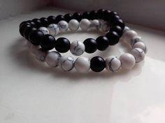 Black Bead White Bead Bracelet Howlite Onyx Bracelets mens