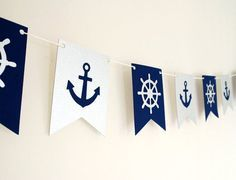 Tema náutico Garland- Navy y Silver Navy Party, Nautical Party, Nautical Wedding, Vintage Nautical, Nautical Bachelorette, Lakeside Wedding, Nautical Place Cards, Baby Shower Marinero, Sailing Party