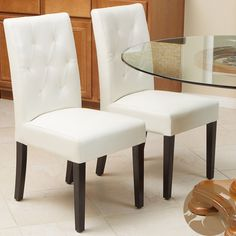 Christopher Knight Home Gentry Bonded Leather Ivory Dining Chair (Set of 2) | Overstock.com Shopping - Great Deals on Christopher Knight Hom...