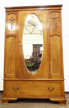 Antique Victorian Inlaid And Carved Mahogany Mirror Door Wardrobe In  Antiques, Antique Furniture, Armoires