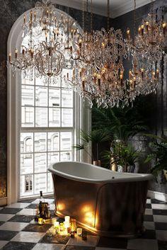 Best Black And White Interior Design Ideas 17 - kindledecor Dark Bathrooms, Beautiful Bathrooms, Small Dark Bathroom, Unusual Bathrooms, Modern Bathroom, White Interior Design, Interior And Exterior, Luxury Interior, Victorian Bathroom