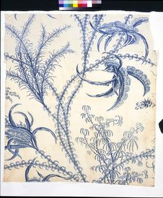 This furnishing fabric has been printed using an engraved copper plate. The introduction of copper-plate printing in the 1750s meant new possibilities in the development of printed textile design, allowing a fineness of detail and delicacy of drawing which had not been achieved in earlier woodblock printed textiles. It also allowed much larger pattern repeats, which made it particularly suitable for bed hangings.    China blue, which has been used here, was a complex process for printing…