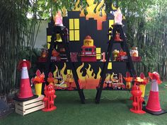 Fireman Party, Firefighter Birthday, Fireman Sam, Cowboy Birthday, Fourth Birthday, 4th Birthday Parties, Birthday Party Decorations, Fire Truck, Baby