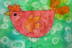 Simple Birds painted with watercolor paint. While paint is still wet, use eye droppers with rubbing alcohol to add effects. When dry, outline with Sharpie. Could also use cut shapes to create the birds. Grade 1 Art, First Grade Art, Grade 2, Kindergarten Art, Preschool Art, Square 1 Art, Animal Art Projects, Link Art, School Art Projects