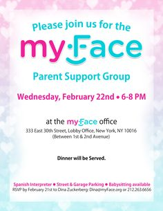 Our next #Parent support group will be on Wednesday, February 22nd, from 6 to 8PM! Please contact Dina at dina@myface.org or 212.263.6656 to RSVP. #myFacesupportgroups #supportgroups #craniofacial #tcs #crouzons #cleft