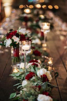 Christmas Wedding Themes, Winter Wedding Decorations, Winter Wedding Flowers, Floral Wedding, Red Wedding Centerpieces, Rustic Red Wedding, Wedding White, Burgundy Wedding Theme, Holiday Wedding Ideas