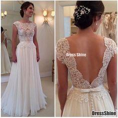 2015 Bateau A-Line Prom Dresses Fully Lace Appliques Chiffon Deep V Black Beach Wedding Dress - PROM