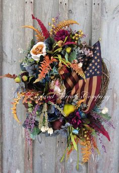 Grand Commonwealth Wealth with Tea Stained Flag  ~A New England Wreath Company Designer Original~