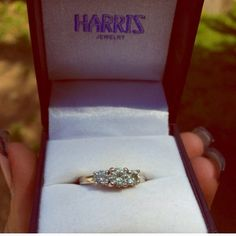 Make an offer! 14K WG Past, present and future.Center stone: 5mm Surrounding stones: 4mm. This ring comes straight from Harris Jewelers in Chicago,IL. The 3stone cushion cut gems are moissanite stones. The receipt does state in bold print that it is true Moissanite. Size: 5.5. Moissanite has a higher brilliance than diamond when you compare. Moissanite's measurement of brilliance is about 10% higher than diamond. Make me a reasonable offer and it's yours. sales receipt, reps contact info…