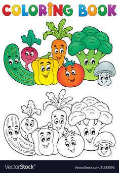 Coloring Book Vegetables Theme Royalty Free Cliparts, Vectors, And Stock Illustration. Vegetable Coloring Pages, Fruit Coloring Pages, Colouring Pages, Free Coloring, Coloring Books, Baby Drawing, Drawing For Kids, Art For Kids, Free Cliparts