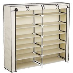 Songmics 7 Tiers 36 Pairs Portable Shoe Rack Closet with Fabric Cover Shoe Storage Organizer Cabinet Beige Shoe Storage Organiser, Shoe Rack Organization, Shoe Storage Cabinet, Storage Cabinets, Portable Wardrobe, Wardrobe Storage, Wardrobe Closet, Shoe Rack Closet, Shoe Racks