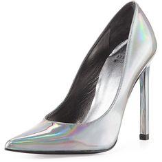 Stuart Weitzman Queen Iridescent Point-Toe Pump featuring polyvore fashion shoes pumps heels pewter iridescent shoes iridescent pumps leather pointy toe pumps leather pumps stuart weitzman pumps