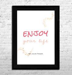 """Affiche A4 : """"Enjoy your life"""" (couleur) : Affiches, illustrations, posters par mes-jolies-phrases"""