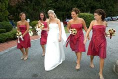 AriaDress bridesmaid dresses in cranberry silk shantung.