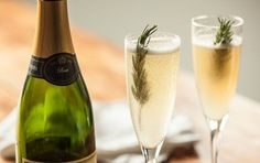 A sprig of rosemary turns this sparkling cocktail into an herbal treat.
