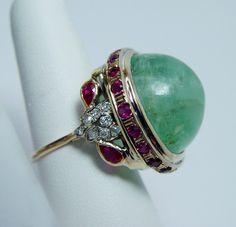 Antique 47ct Emerald Ruby European Diamond Ring 14k Gold 20g Estate Jewelr Video | eBay