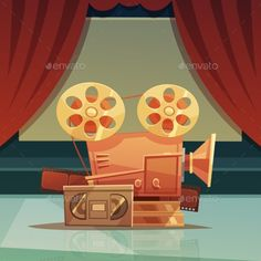 Download Free Graphicriver 	             Cinema Retro Cartoon Illustration             #art #background #camera #cartoon #cinema #cover #curtain #decorative #design #director #filming #flyer #layout #movie #nostalgia #old #poster #print #production #red #retro #symbol #tape #template #title #typography #videocassette #videotapes #wallpaper #watching