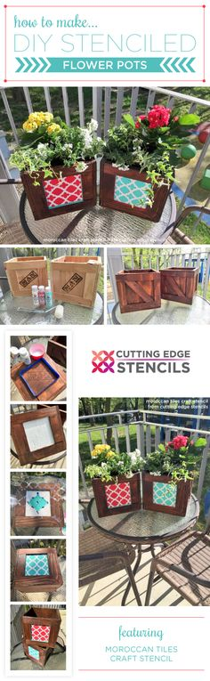 Cutting Edge Stencils shares a DIY tutorial on how to stencil wooden crate flower pots using the Moroccan Tiles Craft Stencil. http://www.cuttingedgestencils.com/moroccan-tiles-DIY-project-stencils.html