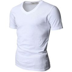 Doublju Mens V-Neck T-shirts with Short Sleeve ($6.99) ❤ liked on Polyvore featuring mens, men's clothing, men's shirts, men's t-shirts, shirts et white