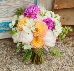vibrant peony and dahlia bouquet by Blue Lotus