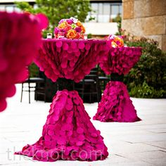 Textured magenta linens in the outdoor patio space