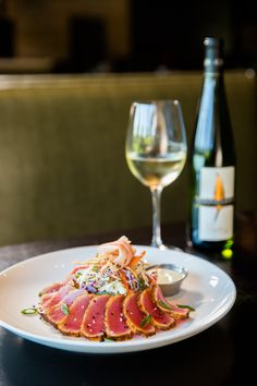 Blackened Ahi Tuna - Seared Rare with Wasabi Sauce, Cilantro Citrus Rice, Asparagus - try with a glass of our Riesling
