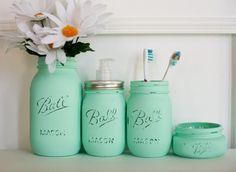 Painted Distressed Mason Jars Bathroom Set - Mint Green - Home Decor  - Soap Dispenser - Bathroom Organizer - Bathroom Decor