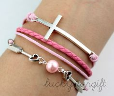 Exquisitely lovely arrow cross bracelet with pink strap pink leather woven fashion bracelet charm bracelet cute charm-Q308 by luckystargift, $2.99