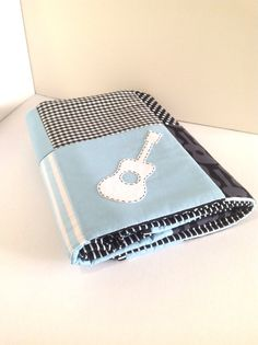 GUITAR Baby Boy CRIB QUILT in  Baby Blue.. Ready to ship now..One only on Etsy, Sold