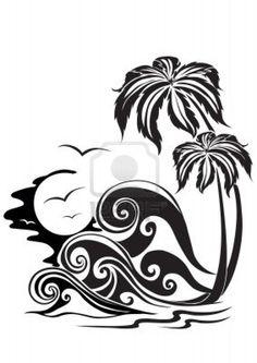 Waves A Silhouette Vector Graphic 195786 Pixmac Tribal Tattoos, Cool Tattoos, Tatoos, Beach Tattoos, Stencils, Marquesan Tattoos, Desenho Tattoo, Tatoo Art, Silhouette Vector