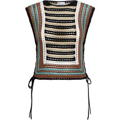 Red Valentino - Crochet Striped Cropped Knit Top ($450) ❤ liked on Polyvore featuring tops, white sleeveless top, sleeveless tops, white top, stripe crop top and white crop top