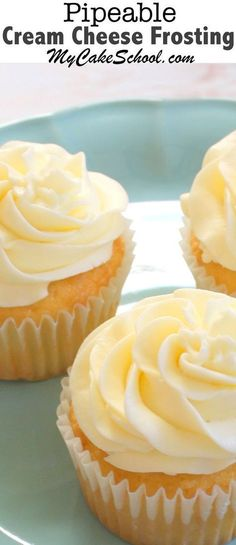 An AMAZING recipe for Pipeable Cream Cheese Frosting! You will love this recipe! My Cake School. This easy and delicious Pipeable Cream Cheese Frosting is the BEST! Wonderful cream cheese flavor and perfect for piping! Frosting Recipes, Cupcake Recipes, Cookie Recipes, Cupcake Cakes, Dessert Recipes, Cupcake Frosting, Cake Icing, Piping Frosting, Frosting Tips