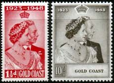 Gold Coast King George VI 1948 Royal Silver Wedding Set Fine Mint SG 147 8 Scott 142 3 Other Gold Coast Ghana Stamps HERE