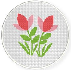 FREE Pink Cute Flowers Cross Stitch Pattern