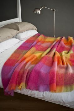 The Mohair Lotus Throw is a vibrant and colourful throw that will add warmth and feeling to any room. Choose a bright colorful Irish Mohair Throw from our extensive collection of throws and blankets, woven at our mill in Ireland, since 1723