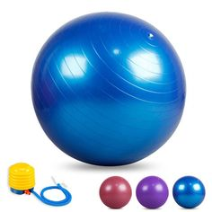 550lbs Exercise Yoga Ball with Air Pump Balance Fitness, 55/65/75cm and Multi Colors Optional (Blue, 55cm) * Read more reviews of the product by visiting the link on the image.