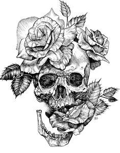 ink skull and roses by Sarah Wilson tattoos tatoo tattoos deviantart tattoos for men tattoos sleeve Skull Rose Tattoos, Body Art Tattoos, Rose Neck Tattoo, Wing Tattoos, Fake Tattoos, Chicano Tattoos, Cross Tattoos, Skull Candy Tattoo, Skull Art