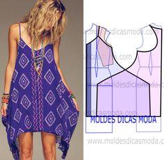 VESTIDO DE PRAIA -271 - Moldes Moda por Medida