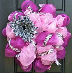 Pink and Zebra Mesh Wreath by FestiveTouch on Etsy, $90.00
