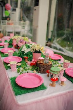 Table set up for a Fairy Garden Party. I will use moss instead of turf