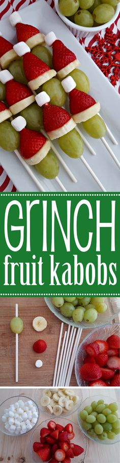 Christmas Grinch Fruit Kabobs perfect for holiday parties, kids classroom parties for school or just creating with your kids at home. A healthy alternative for a Christmas snack, minus the marshmallows!