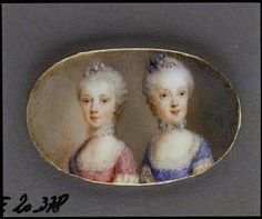 Caroline, Archduchess of Austria Double portrait with her ​​sister Marie Antoinette (in pink dress). Watercolor on ivory by Antonio Pencini to in 1764.  Vienna, Hofburg,