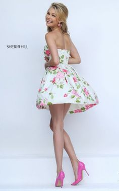 Sherri Hill 50116 Ivory Strapless Floral Printed Prom Dress