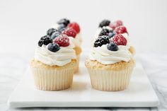Angel Food Cupcakes with Whipped Cream and Berries. Make angel food cake in cupcake form and top with fresh berries and vanilla-bean whipped cream and you will have a heavenly little dessert.